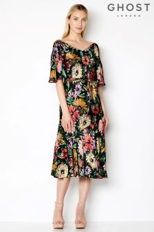 Ghost London Garden Floral Jada Printed Satin Dress