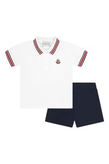 Moncler Enfant Baby Boys White Cotton SHorts Set