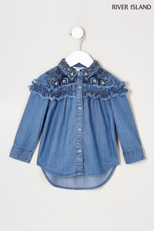 River Island Denim Frill Detail Shirt