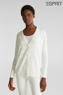 Esprit Natural Cardigan With V-Neck And Buttons