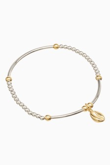 And 18 Carat Gold Plated Beady Shell Charm Friendship Bracelet