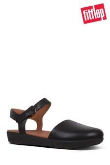 Czarne sandały skórzane na paski FitFlop™