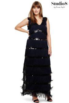 Studio 8 Blue Starlet Fringe Maxi Dress