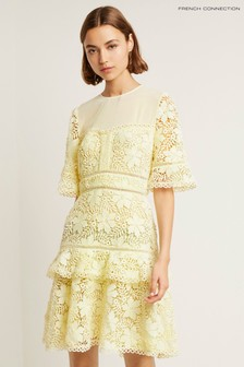 French Connection Yellow Calli Lace Round Neck Dress