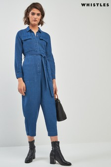 Whistles Pia Utility Denim Jumpsuit