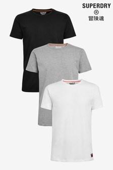 Superdry T-Shirts, Dreierpack, Schwarz/Marineblau