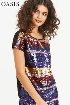 Oasis Natural Rainbow Sequin Tee Dress