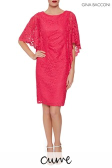 Gina Bacconi Pink Satina Lace Dress