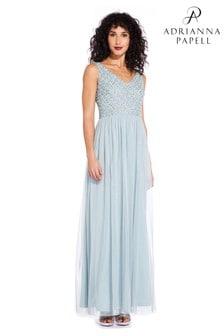Adrianna Papell Blue Beaded Long Dress