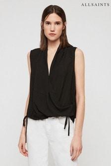 AllSaints Black Ani Wrap Blouse