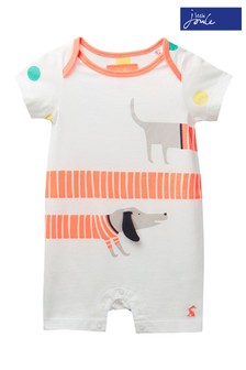 Joules White Patch Jersey Appliqué Babygrow