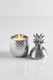 Midnight Patchouli & Amber Ceramic Pineapple Candle
