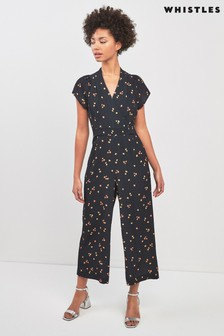 Whistles Black Mirco Floral Print Tie Back Jumpsuit