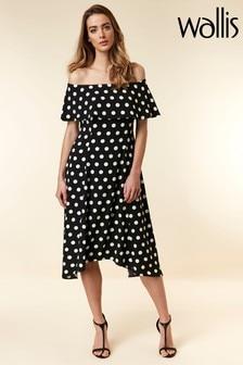 Wallis Black Spot Bardot Dress
