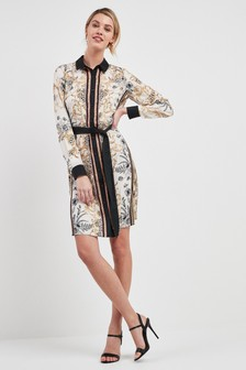 Printed Belted Shirt Dress