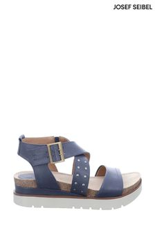 Josef Seibel Blue Clea Platform Wedge Sandals