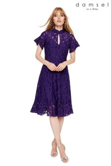 Damsel In A Dress Purple Lulu Animal Lace Fluted Hem Dress