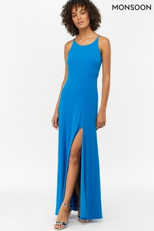 Vestido largo con espalda de nadador en azul de punto Ellie de Monsoon Ladies