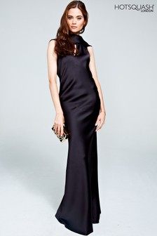 HotSquash Black Silky Gown With Cowl Neck
