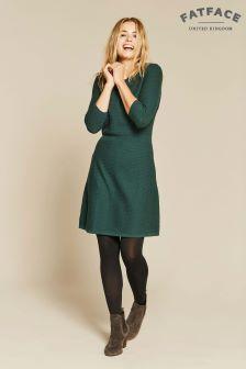 FatFace Green Emma Knit Jumper Dress