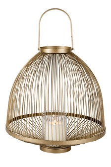 Gold Metal Candle Cloche Lantern by Outdoor Living Company