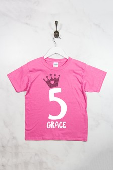 Personalised Glitter Crown Birthday T-Shirt by Loveabode