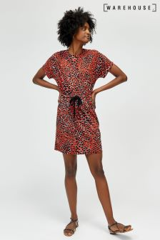 Warehouse Red Animal Print Channel Dress