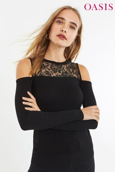 Oasis Black Corded Lace Jumper
