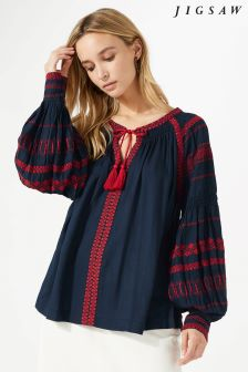 Jigsaw Blue Embroidered Blouse