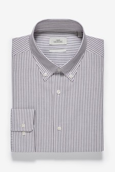 Striped Slim Fit Single Cuff Oxford Shirt