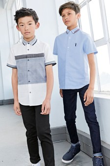 Short Sleeve Tape Collar Detail Shirt (3-16yrs)
