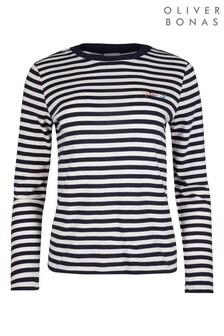 Oliver Bonas Blue Optimist Stripe Long Sleeve Navy T-Shirt