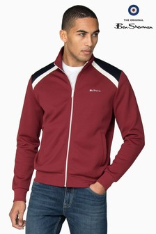 Ben Sherman Red Tricot Colourblock Panelled Track Top