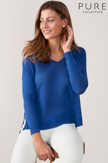 Pure Collection Blue Linen V-Neck Sweater