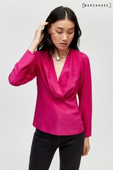 Warehouse Pink Pleat Long Sleeve Wrap Top