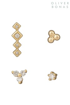 Oliver Bonas Gold Tone Jules Mixed Shape Stud Earrings Four Pack
