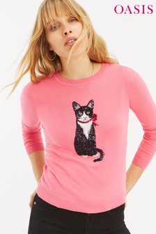 Oasis Pink Cat Sequin Jumper