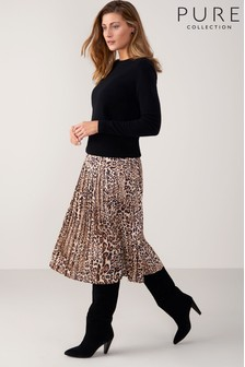 Pure Collection Natural Printed Pleat Skirt