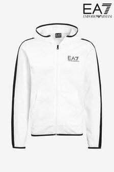 Emporio Armani EA7 White Tape Logo Sleeve Hoody