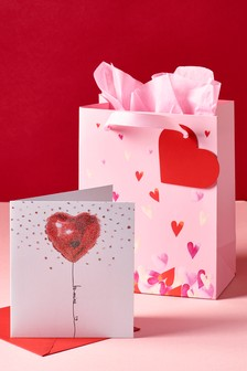 Valentines Heart Card And Bag Bundle
