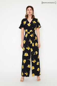 Warehouse Black Floral Wide Leg Jumpsuit