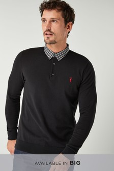 Check Woven Collar Polo