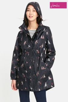 Joules Black Dogs Packaway Go Lightly Jacket