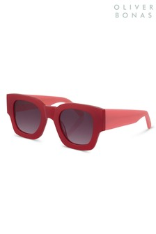 Oliver Bonas Red Paris Square Sunglasses