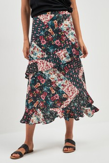 Ditsy Mixed Print Ruffle Skirt
