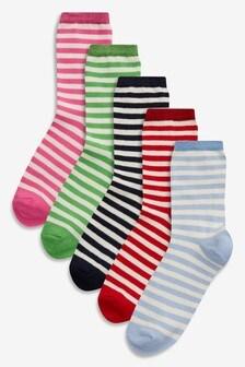 Striped Ankle Socks Five Pack