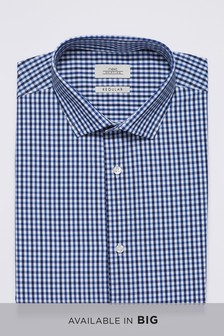 Check Short Sleeve Regular Fit Shirt With Pocket Square