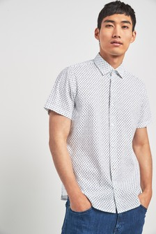 BOSS White Rash Printed Short Sleeve Shirt