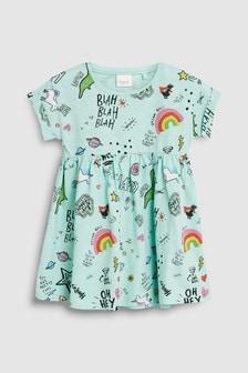 Short Sleeve Dinosaur Slogan Dress (3mths-7yrs)