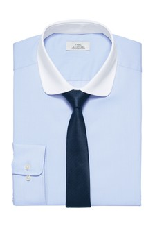 Slim Fit White Contrast Collar Shirt And Tie Set
